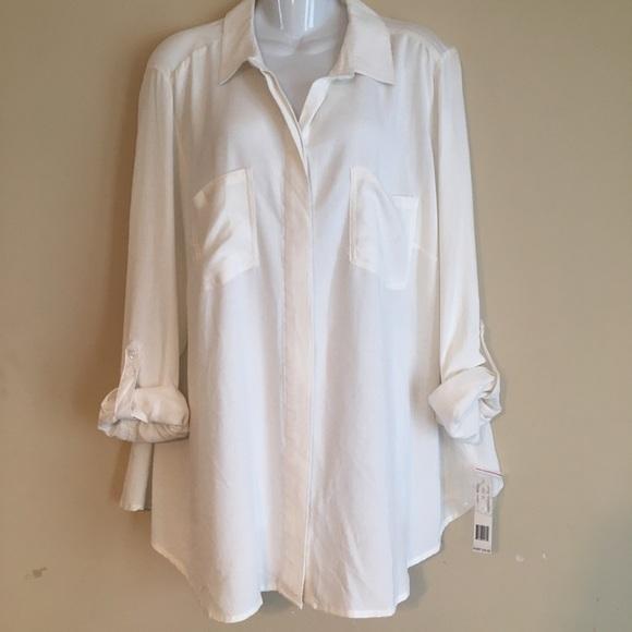 cd924dac748 Zac   Rachel Ivory Button Down Shirt NWT 2x